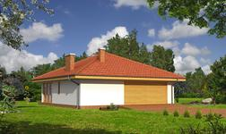 Garaż z pomieszczeniem gospodarczym, sauną i wiatą rekreacyjną
