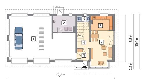 Rzut parteru POW. 145,5 m²