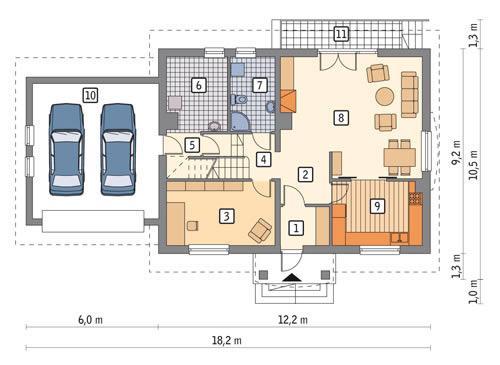 Rzut parteru POW. 123,0 m²