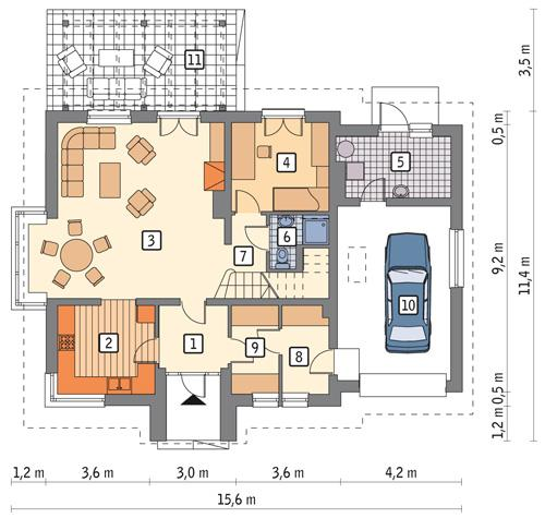 Rzut parteru POW. 109,2 m²