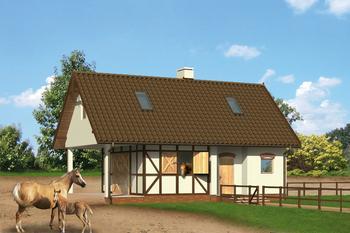 Stajnia dla 2 koni z częścią mieszkalną