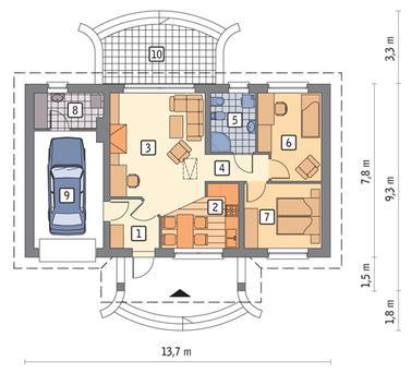 RZUT PARTERU POW. 62,1 m²